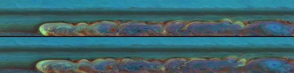 Non, il ne s'agit pas de la palette d'un peintre s'essayant à des mélanges de couleurs, mais bien de la tempête observée sur Saturne par la sonde Cassini. Onze heures seulement entre les deux images suffisent à mettre en évidence des variations dans les panaches colorés. © Nasa/JPL-Caltech/Space Science Institute