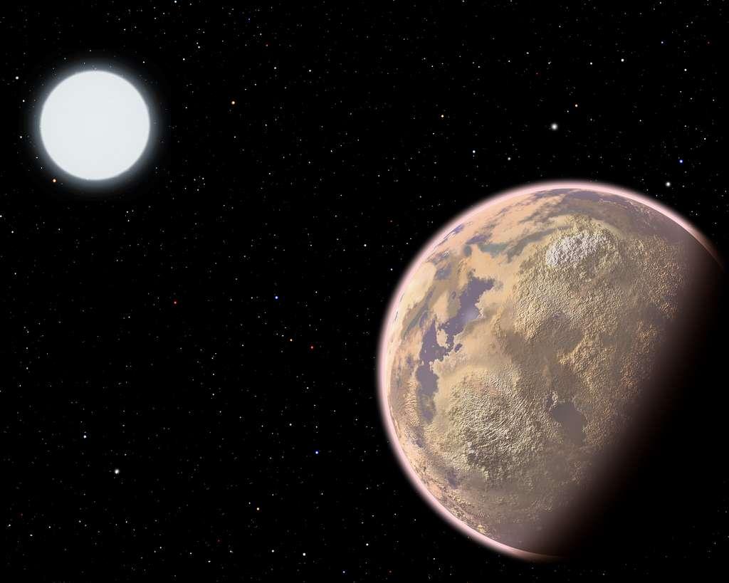 Une vue d'artiste d'une exoplanète rocheuse avec une atmosphère autour d'une naine blanche. Elle pourrait garder les traces de l'existence d'une civilisation E.T. éteinte même des milliers d'année après sa disparition sous la forme de CFC en grande quantité dans son atmosphère. © Christine Pulliam (CfA)