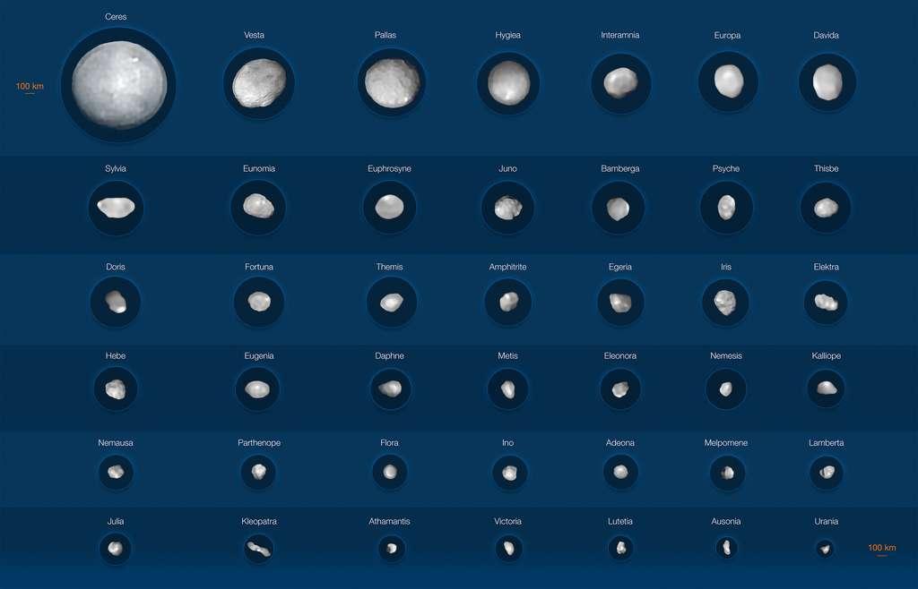 Sur cette image, figurent 42 des objets les plus imposants de la ceinture d'astéroïdes située entre Mars et Jupiter. La plupart d'entre eux ont des dimensions supérieures à 100 kilomètres – Cérès et Vesta, avec leurs diamètres voisins de 940 et 520 kilomètres, constituent les astéroïdes les plus proéminents. À l'opposé, figurent Urania et Ausonia, dont les diamètres n'excèdent pas les 90 kilomètres. Les images des astéroïdes ont été acquises au moyen de l'instrument Sphere installé sur le VLT de l'ESO. © ESO/M. Kornmesser/Vernazza et al., Mistral algorithm (Onera/CNRS)