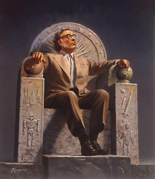 Isaac Asimov vu par Rowena Morrill sur un trône orné des symboles de son œuvre littéraire. Google est-il en train de réaliser les rêves de l'auteur de I, Robot ? © Wikipédia, GNU 1.2