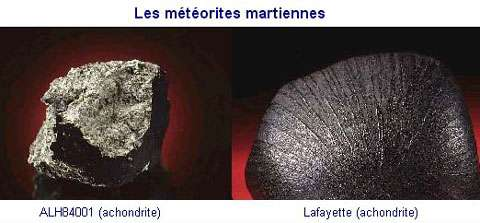 Des météorites martiennes. © Documents NMNH