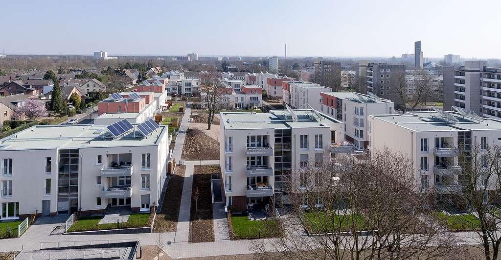 Systèmes solaires sur des immeubles. © EnergieAgentur.NRW, Wikimedia commons, CC by 2.0