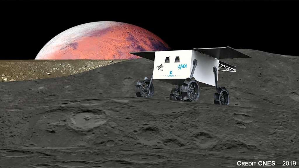 Concept provisoire du rover de la mission japonaise MMX à destination des satellites martiens Phobos et Deimos. Ce rover sera réalisé par le Cnes et le DLR. © Cnes