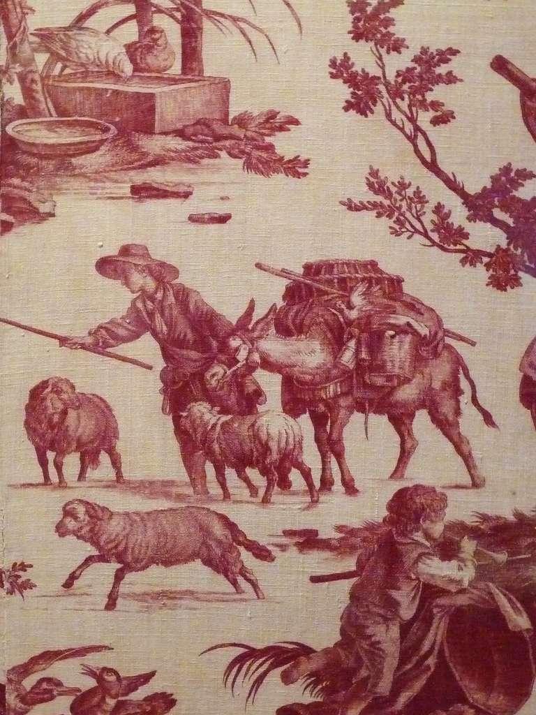 Détail agrandi d'une toile de Jouy, « les occupations de la ferme », dessin de Jean-Baptiste Huet, manufacture Oberkampf, entre 1785 et 1792, impression à la plaque de cuivre et non à la planche de bois. © Creative Commons, domaine public