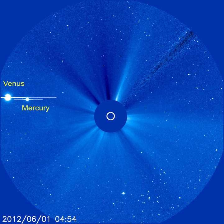 Depuis le premier jour du mois de juin on peut suivre le déplacement de Vénus (et de Mercure) dans le champ du coronographe du satellite Soho. © Nasa