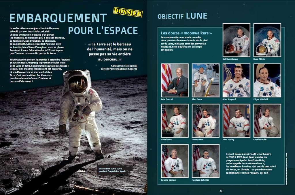 À la fin de l'ouvrage, la conquête spatiale se poursuit dans un dossier spécial de 8 pages. © Éditions Faton