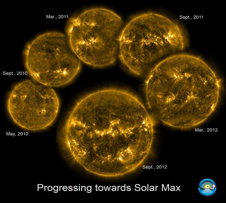 Le suivi, tous les six mois, de la montée du niveau de l'activité solaire depuis que la première mission a commencé à produire des images cohérentes, en mai 2010. La période de maximum solaire est prévue en 2013. Les images ont été prises à une longueur d'onde de 17,1 nm, dans l'ultraviolet. © SDO, Goddard Space Flight Center