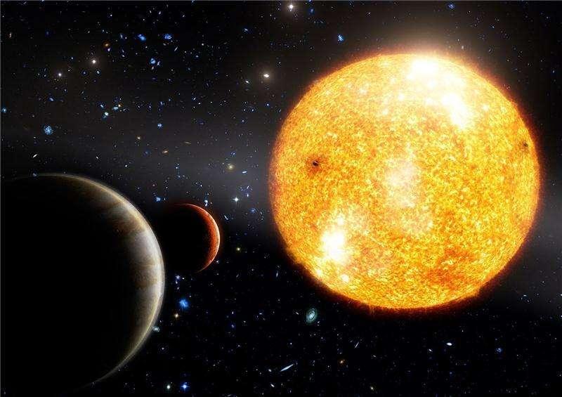 Une vue d'artiste des deux exoplanètes en orbite autour de l'étoile HIP 11952. © Timotheos Samartzidis