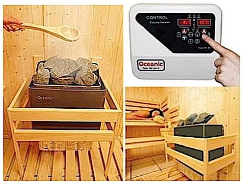 Chargez le poêle en pierres volcaniques, versez dessus 2 à 3 louches d'eau et laissez-vous aller. La commande digitale permet de programmer la séance à l'avance ou d'utiliser le sauna en mode continu. Elle comporte en plus de la minuterie une sonde de température, un thermostat, un dispositif de sécurité en cas de surchauffe, des voyants de contrôle et un bornier de connexion pour l'éclairage de la cabine. © saunasolar.com