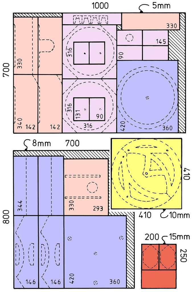 Le débit de bois. Pour réaliser le Strock-250, vous aurez besoin de plaques de contreplaqué de 5, 8, 10 et 15 mm d'épaisseur. © P. Strock.