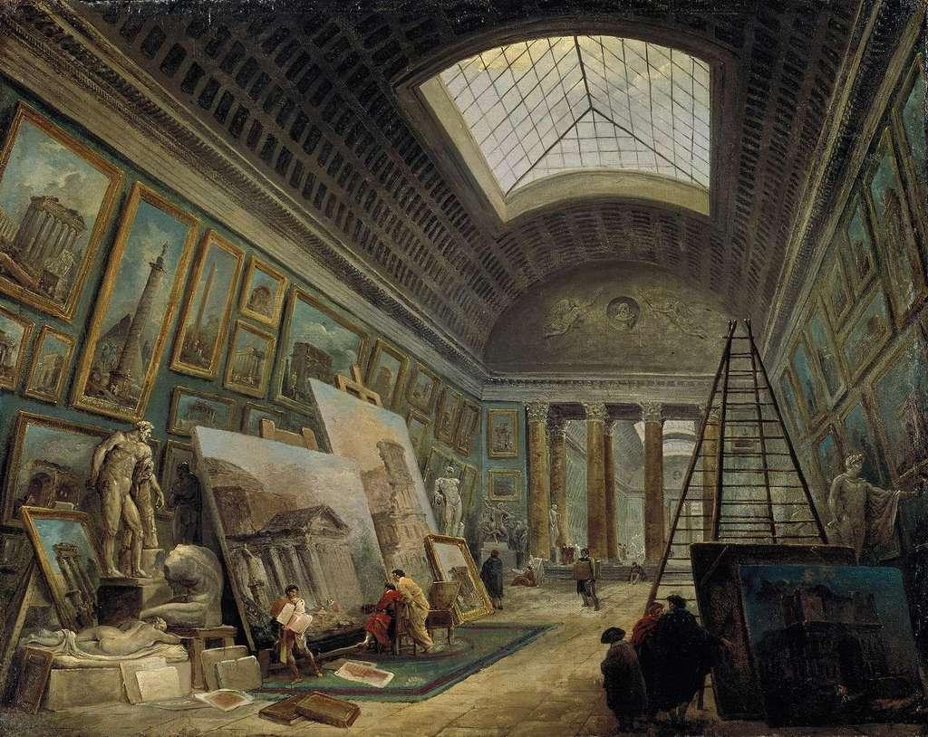 Une des galeries du muséum. Peinture de Hubert Robert. © Hubert Robert, Wikimedia Commons, Domaine Public
