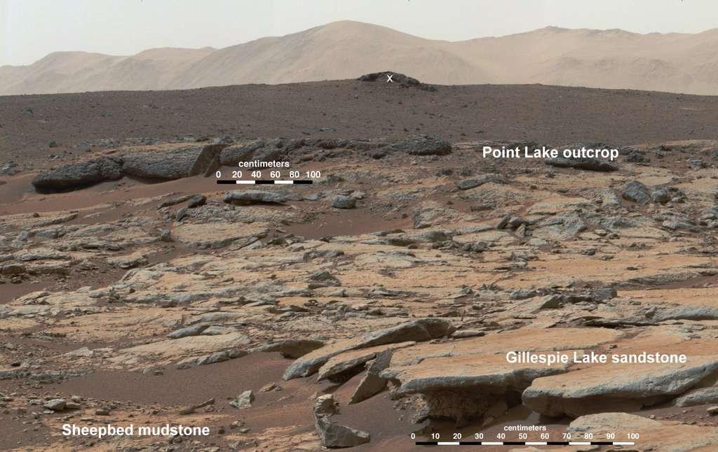 Les dépôts sédimentaires repérés par Curiosity dans la zone baptisée Yellowknife Bay. © Nasa, JPL-Caltech, MSSS