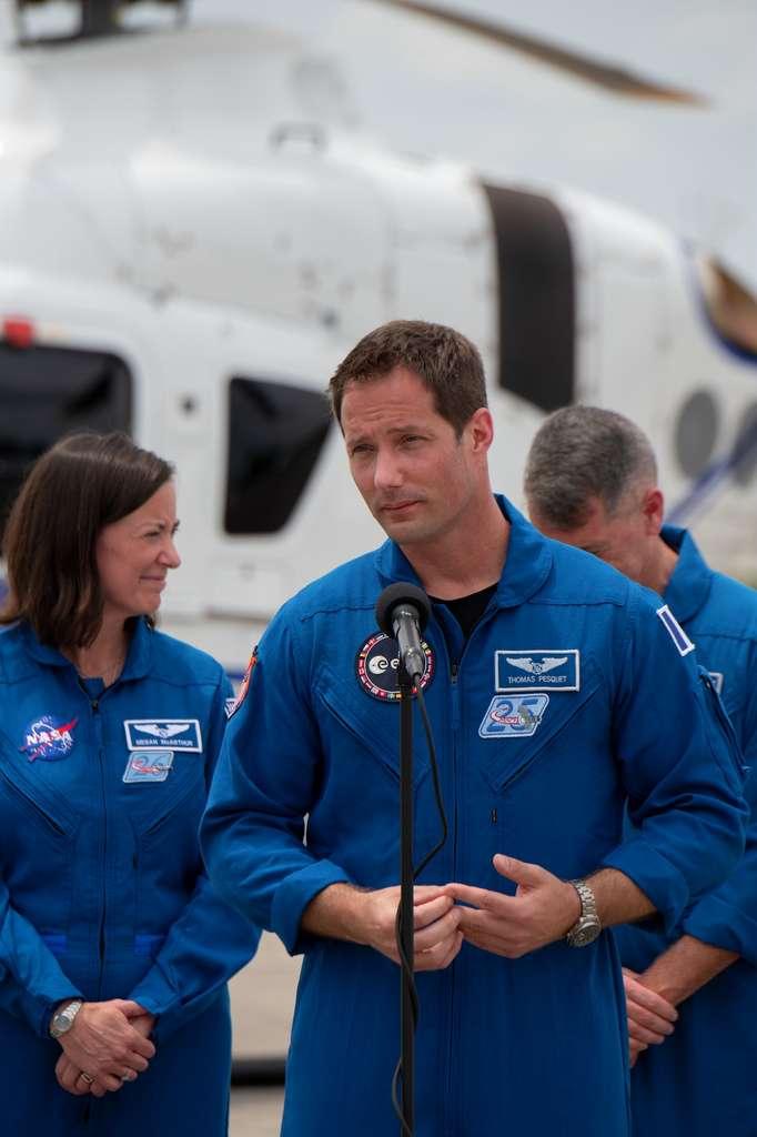 Thomas Pesquet à son arrivée au Centre spatial Kennedy, le 16 avril 2021. © S. Corvaja, ESA