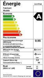 L'étiquette énergie, une fiche complète sur l'efficacité énergétique. Elle indique la consommation électrique et d'autres paramètres, comme la consommation d'eau. (Cliquer sur l'image pour l'agrandir.)