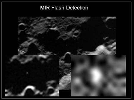 La caméra infrarouge de LCross a détecté un éclair dû au sodium au moment de l'impact de Centaur. © Nasa Ames