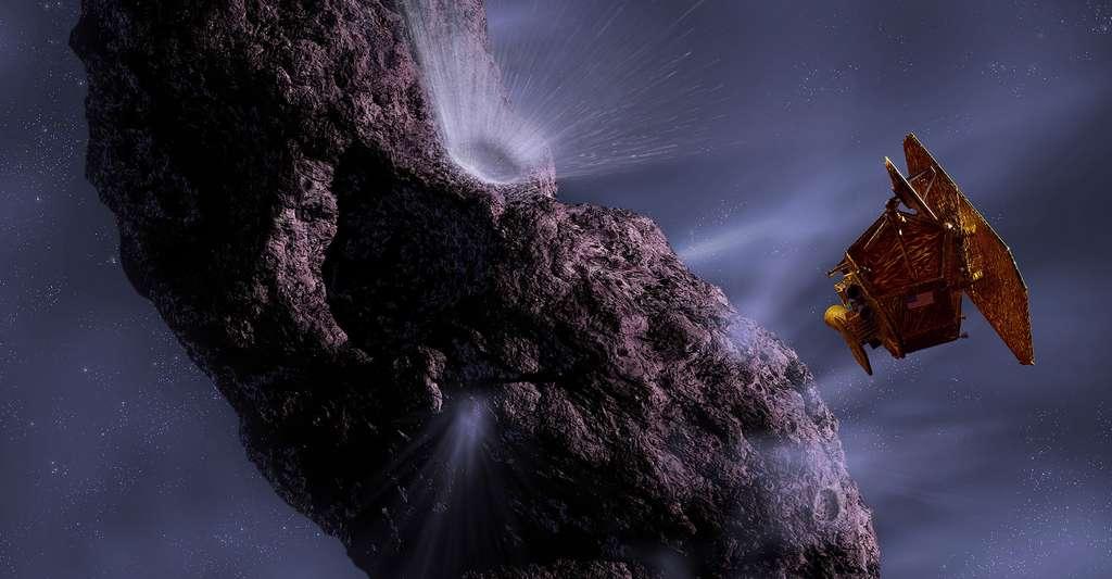 Vue d'artiste de Deep Impact pertucant la comète Tempel 1. © NASA/JPL-Caltech/UMD
