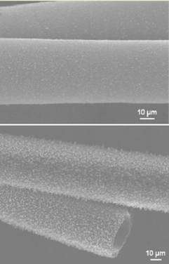 Les tubes de carbone au microscope électronique. Crédit : Huisheng Peng, LANL, et al