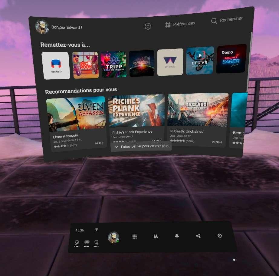 L'écran d'accueil en 3D de l'Oculus Quest 2, qui donne accès à la bibliothèque d'applications, le Quest Store, le navigateur, Oculus TV et bien d'autres. © Futura