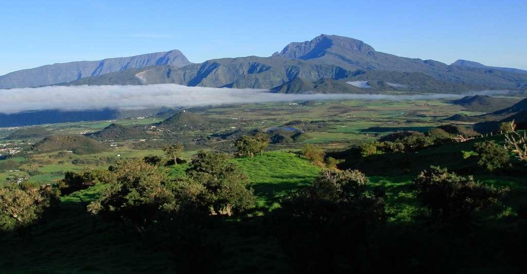 Vue du Piton des Neiges depuis la route montant au Piton de la fournaise, Parc National de la Réunion. © Samuel Busson, CC BY-SA 3.0