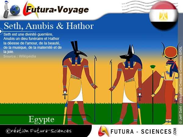 Seth, Anubis et Hathor divinités égyptiennes