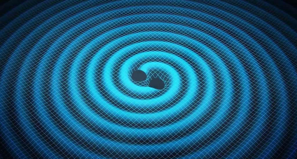 Une vue d'artiste montrant les ondulations du tissu de l'espace-temps provoquées par deux trous noirs en train de se rapprocher. Perdant de l'énergie sous forme d'ondes gravitationnelles, ils finiront par fusionner. © Swinburne Astronomy Productions