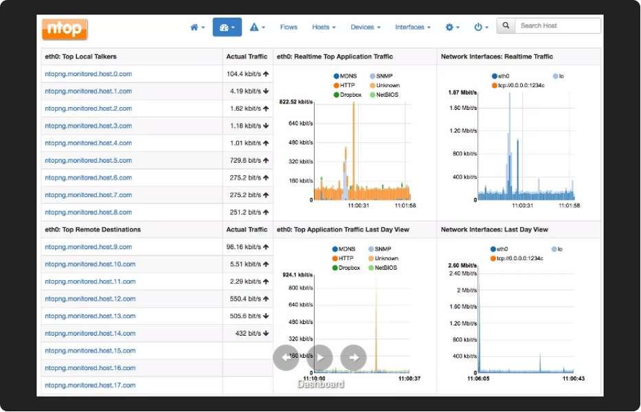 Ntopng permet de surveiller l'état du réseau en temps réel et d'être averti de toute anomalie. © ntopng