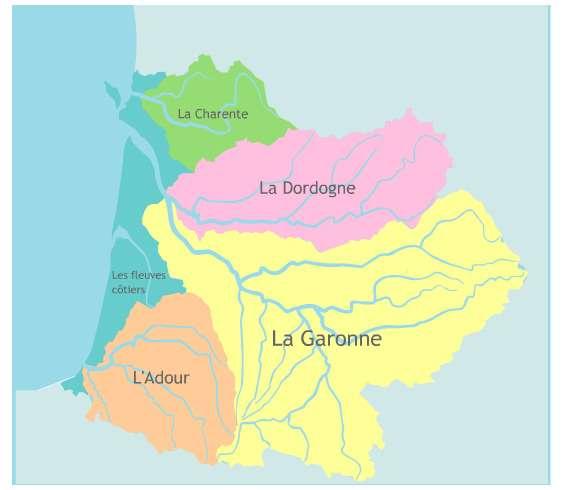 Le bassin Adour-Garonne. La Garonne possède de nombreux affluents. © Agence de l'eau Adour-Garonne