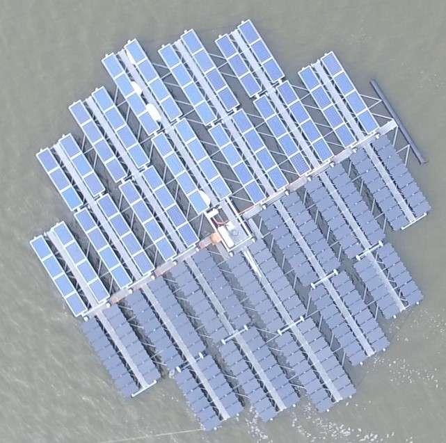 Les panneaux s'orientent automatiquement au cours de la journée selon l'ensoleillement. De quoi obtenir un gain de rendement de 25 % par rapport à des panneaux fixes. © Floating Solar