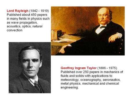 En haut Lord Rayleigh et en bas Geoffrey Taylor, les découvreurs et théoriciens de l'instabilité portant leurs noms. Crédit : H. Schmeling, Institute of Geophysics, Goethe University, Frankfurt.