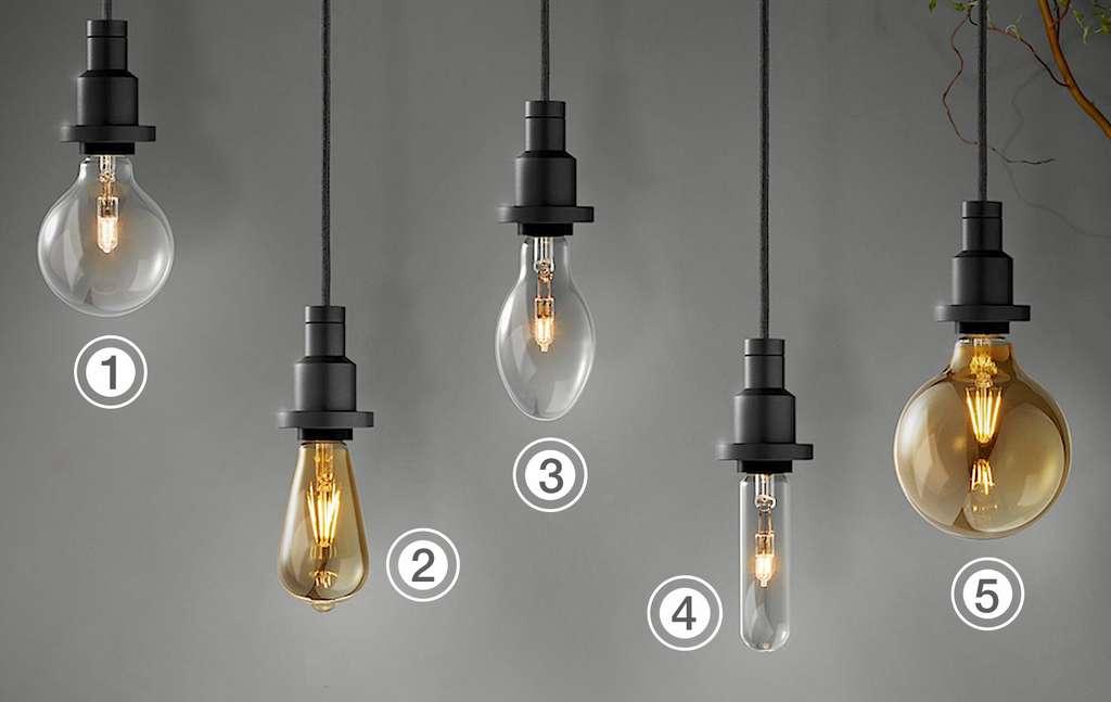 Quatre formes de LED vintage inspirées d'antiques versions de 1906. 1) Globe. 2) Edison à effet filament. 3) Ovale. 4) Tube. 5) Globe à effet filament. © Osram