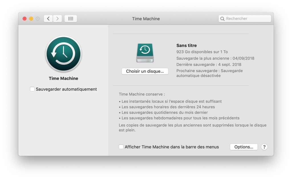 Avant tout, sauvegardez vos données avec Time Machine ! © SR/Futura