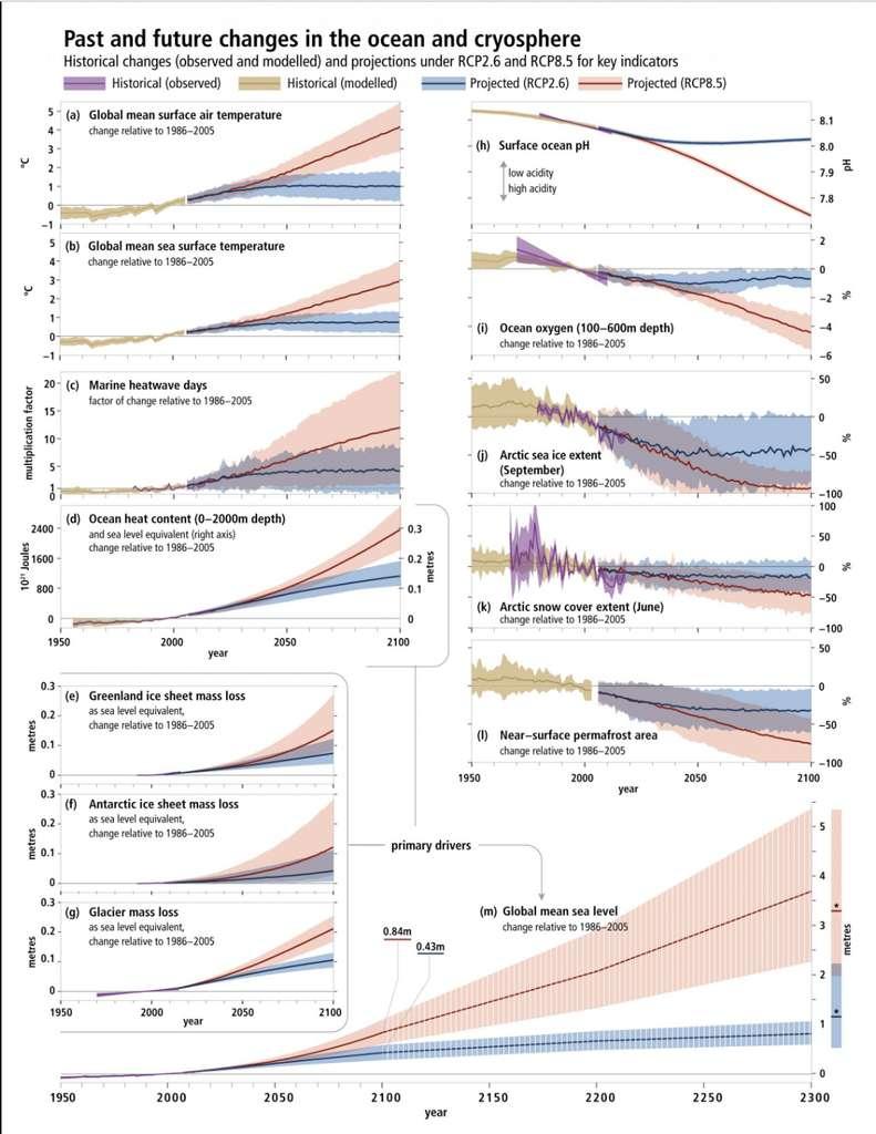 Historique depuis les années 1950 et projections des changements des océans et de la cryosphère. © IPCC