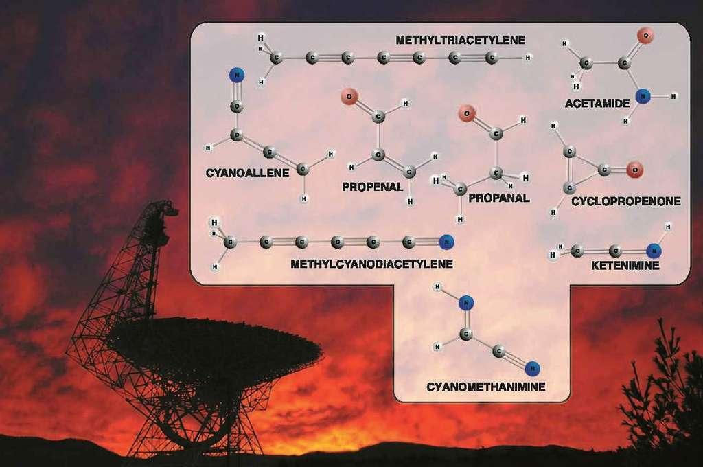 Certaines des molécules organiques découvertes dans les nuages moléculaires. On détecte leurs traces dans le rayonnement radio du milieu interstellaire avec des radiotélescopes comme celui de Green Bank, que l'on voit en arrière-plan. © Bill Saxton, NRAO, AUI, NSF