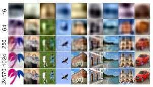 Images compressées à des taux variables (le nombre de bits est indiqué à gauche). Même lorsqu'il ne reste que 1.024 bits, voire 256, un être humain saura reconnaître l'oiseau, la maison, le dessin de palmier... Le logiciel dont il est question ici saura lui aussi déterminer les caractéristiques des objets photographiés puis les retrouver sur d'autres images. © Antonio Torralba/Rob Fergus/Yair Weiss