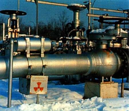 Jauge radioactive sur une conduite de pétrole © CEA-DPSN