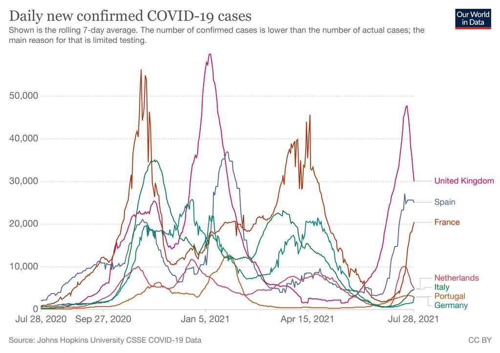 Nombre de nouveaux cas quotidiens entre le 28 juillet 2020 et le 28 juillet 2021. © Our World In Data