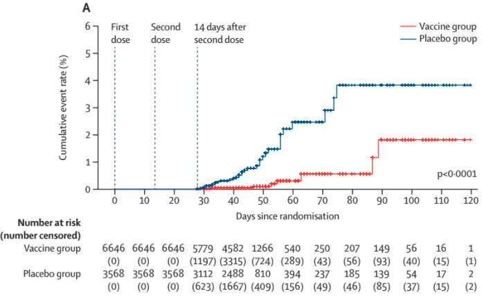 Le nombre de cas de Covid cumulés dans le groupe placebo (en bleu) et le groupe vaccinal (en rouge), 14 jours après la seconde dose de CoronaVac. © Mine Durusu Tanriover, et al. The Lancet