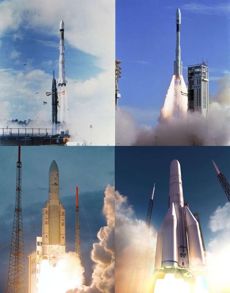 Du premier vol d'une Ariane en 1979 et d'Ariane 4 à Ariane 5, ces familles de lanceurs ont assuré à l'Europe trois décennies d'accès indépendant à l'espace. En 2020, Ariane 6 prendra progressivement le relais d'Ariane 5 pour un accès à l'espace moins cher. © Esa/Cnes/Arianespace - Service Optique
