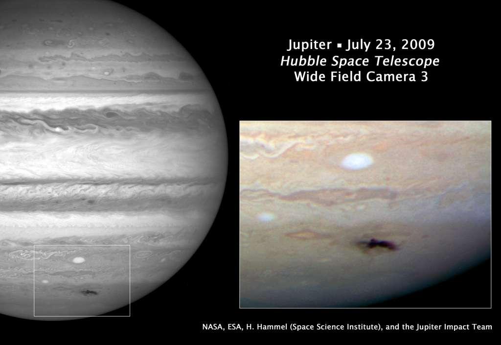 En juillet 2009 l'astronome amateur australien Anthony Wesley fut le premier à signaler un impact sur Jupiter, permettant aux astronomes professionnels de le photographier immédiatement avec le télescope spatial Hubble. © Nasa, Esa, H. Hammel (Space Science Institute), Boulder, Colorado), Jupiter Impact Team