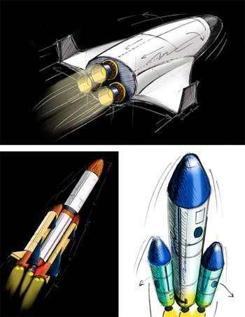 Quelques prototypes du futur lanceur étudiés dans le cadre du projet Oural