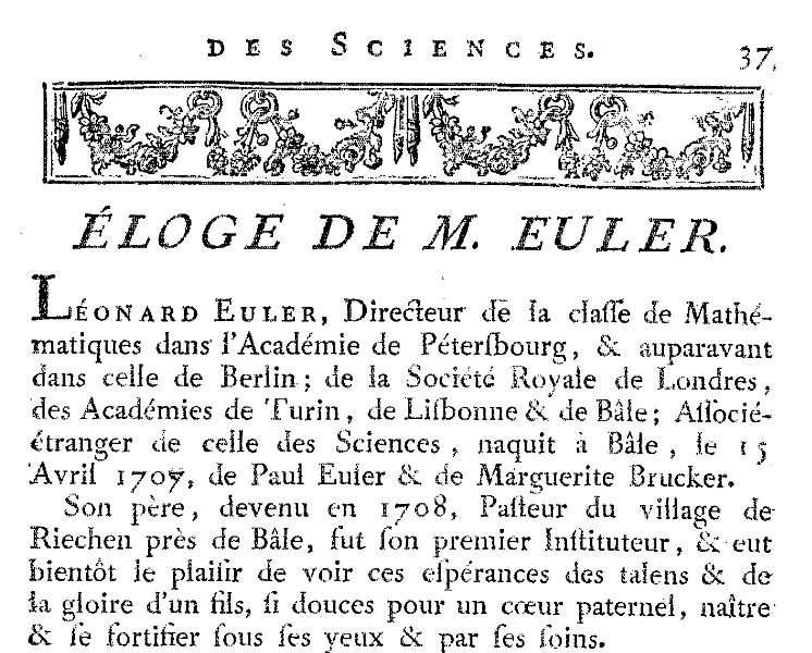 Le début de l'éloge prononcé devant l'Académie des sciences de Paris par le marquis de Condorcet après la mort d'Euler, survenue le 18 septembre 1783. © Académie des sciences