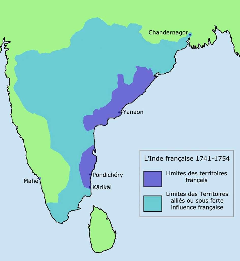 Zone d'influence française en Inde entre 1741 et 1754 (comptoirs, territoires) sous la gouvernance de Dupleix. © Wikimedia Commons, DP
