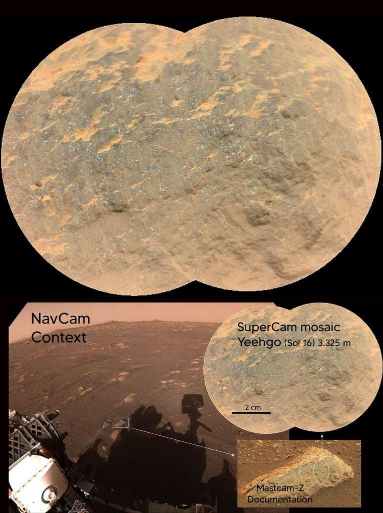 La roche nommée Yeehgo est une des premières cibles de tests pour l'instrument SuperCam. Elle est située à 3,325 mètres du rover. © Nasa, JPL-Caltech, LANL, Cnes, CNRS, ASU, MSSS