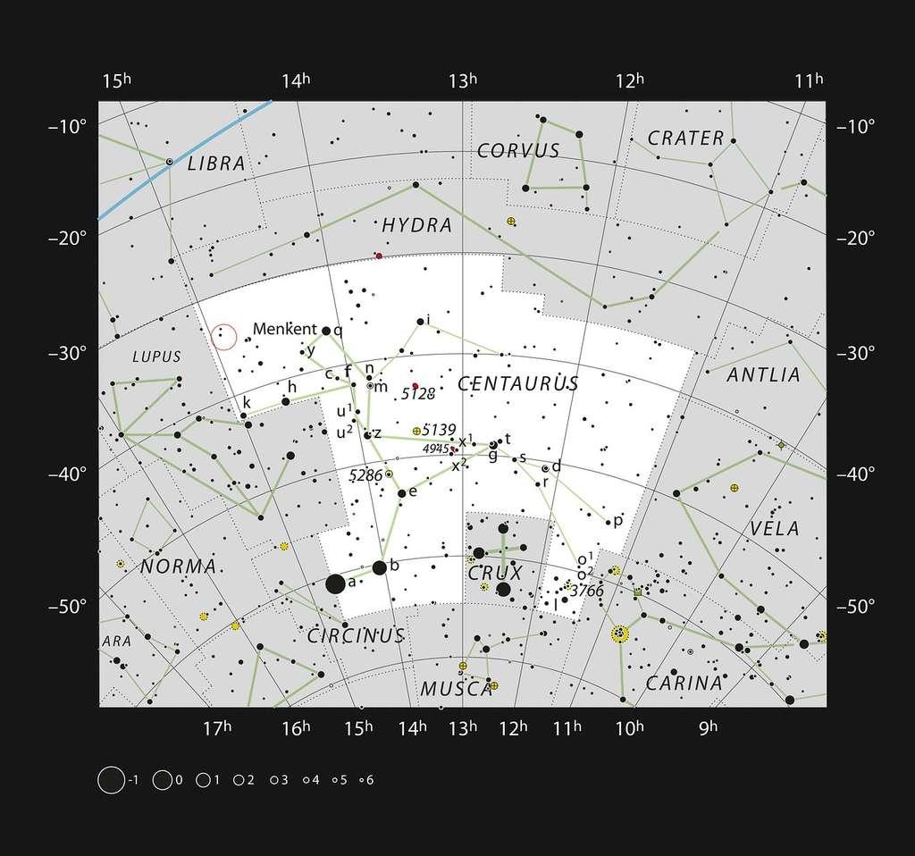 HD 131399Ab se situe à quelque 320 années-lumière de la Terre dans la constellation du Centaure. Elle est âgée de 16 millions d'années seulement. Elle est l'une des plus jeunes exoplanètes découvertes à ce jour, et l'une des toutes premières à avoir fait l'objet d'une imagerie directe. Sa température de surface avoisine les 580 °C. Elle est l'une des exoplanètes les plus froides et les moins massives détectées au moyen de l'imagerie directe. © ESO/IAU and Sky & Telescope