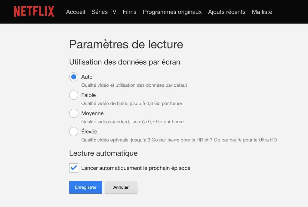 Optimisez les paramètres de lecture dans Netflix. © Futura