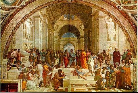 Avec un accent de lyrisme, on peut considérer la communauté scientifique autour du LHC comme le digne successeur de cette représentation mythique des penseurs de l'Antiquité grecque. Au centre, illustrant le débat millénaire entre la théorie et l'expérience, Platon discutant avec Aristote. Platon a été représenté avec les traits de Léonard de Vinci. C'est L'école d'Athènes de Raphaël. © DR