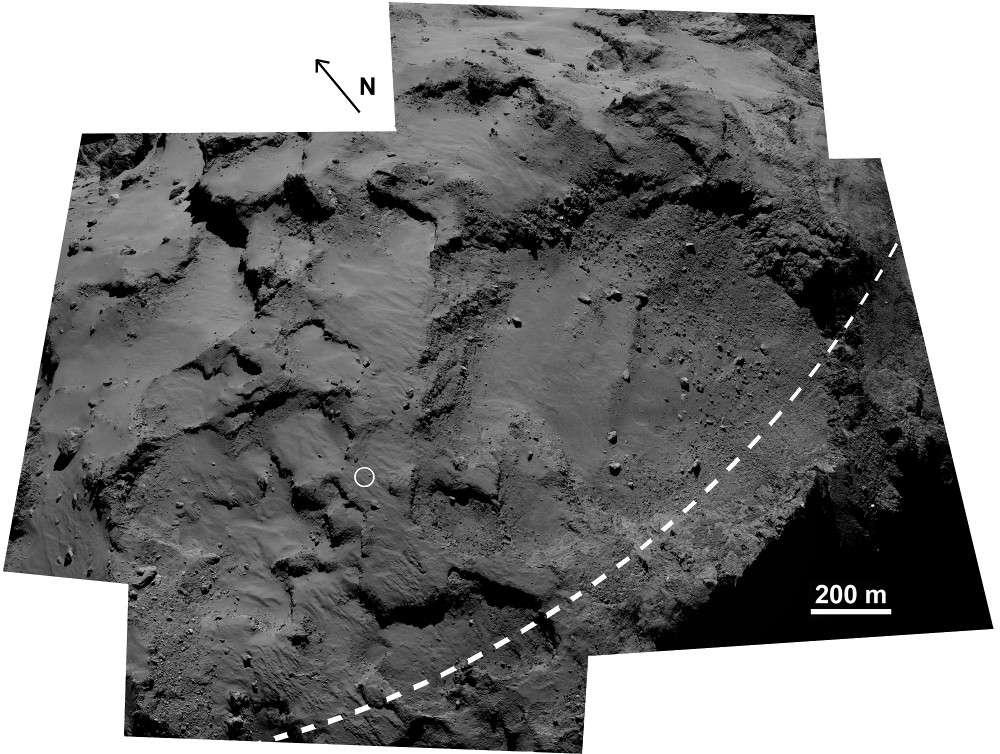 Le site initialement choisi pour l'atterrissage de Philae, Agilkia, sur le petit lobe de la comète Tchouri, photographié par Rosetta. © Esa, Rosetta, MPS for Osiris Team MPS, UPD, LAM, IAA, SSO, INTA, UPM, DASP, IDA