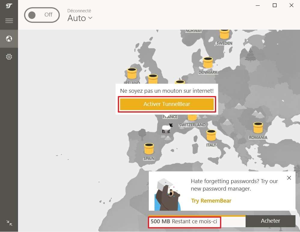 Activez TunnelBear pour que vos données soient protégées et pour être anonyme. © TunnelBear