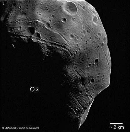 Pôle sud de Phobos, photographié par Mars Express le 26 juillet 2008 (5861e orbite). Crédit Esa/DLR/FU Berlin (G. Neukum)