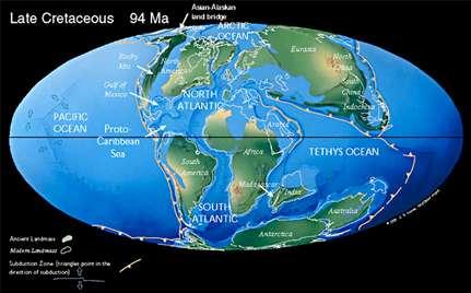 Figure 18 : Paléogéographie des continents au Crétacé supérieur (Turonien, 90 millions d'années).